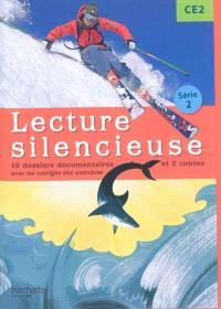 Lecture silencieuse CE2, série 2 : 16 dossiers documentaires et 2 contes : avec les corrigés des exercices