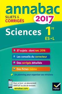 Sciences : 1re ES, L : 2017