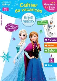 Cahier de vacances La reine des neiges : de la moyenne à la grande section, 4-5 ans : nouveaux programmes