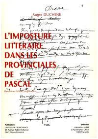 L'Imposture littéraire dans les Provinciales, de Pascal