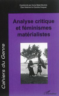 Cahiers du genre, hors série. n° 2016, Analyse critique et féminismes matérialistes