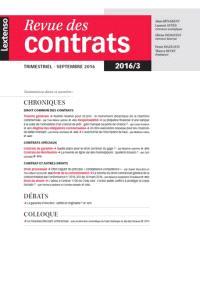 Revue des contrats. n° 3 (2016)