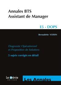 Annales BTS assistant de manager : E5 DOPS diagnostic opérationnel et proposition de solutions