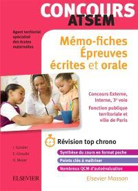 Mémo-fiches concours ATSEM : épreuves écrites et orale : concours externe, interne, 3e voie, fonction publique territoriale et Ville de Paris