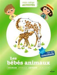 Les bébés animaux : coloriage, différences, labyrinthe, cache-cache : avec des autocollants