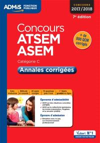 ATSEM, ASEM, concours 2017-2018 : catégorie C : annales corrigées