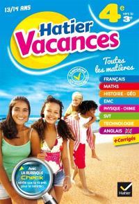 Hatier vacances, 4e vers la 3e, 13-14 ans