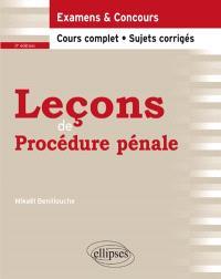 Leçons de procédure pénale : cours complet et sujets corrigés