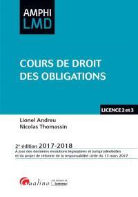 Cours de droit des obligations : licence 2 et 3 : 2017-2018