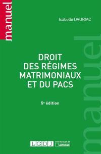 Droit des régimes matrimoniaux et du Pacs