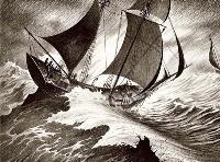 Marines : vents, tempêtes, pinceaux secs et crayons gras