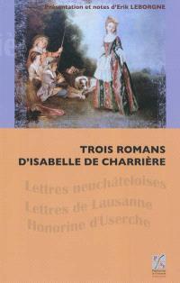 Trois romans d'Isabelle de Charrière
