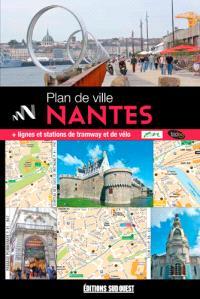 Plan de Nantes et de son agglomération : + lignes et stations de tramway et de vélo