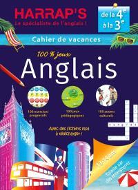 Cahier de vacances anglais Harrap's : de la 4e à la 3e, 13-14 ans : avec des fichiers mp3 à télécharger !