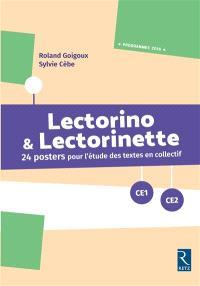 Lectorino & Lectorinette CE1-CE2 : 24 posters pour l'étude des textes en collectif : programmes 2016