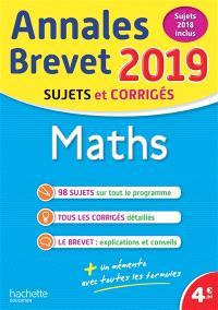 Maths : annales brevet 2019, sujets et corrigés, sujets 2018 inclus