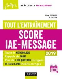 Score IAE-Message : tout l'entraînement : 2019