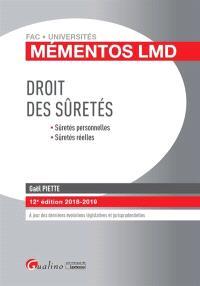 Droit des sûretés : sûretés personnelles, sûretés réelles : 2018-2019