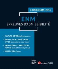 ENM, épreuves d'admissibilité : concours 2019