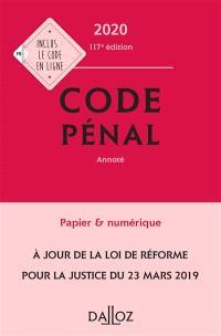 Code pénal 2020 : annoté