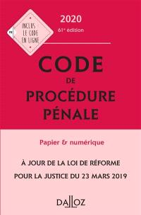 Code de procédure pénale 2020, annoté