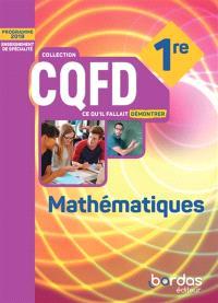 Mathématiques 1re : enseignement de spécialité : programme 2019