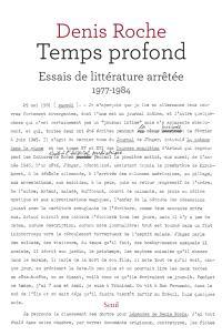 Temps profond : essais de littérature arrêtée : 1977-1984