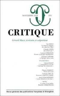 Critique. n° 870, Gérard Macé, écrivain et colporteur