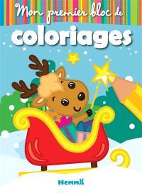 Mon premier bloc de coloriages : renne dans le traîneau
