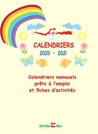 Calendriers mensuels prêts à l'emploi et fiches d'activités : calendriers 2020-2021