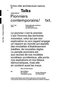 Entre ville architecture nature : talks : pratiques d'initialité. Volume 2, Pionniers contemporains : journée d'études, 6 et 7 mai 2019