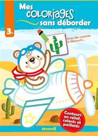 Mes coloriages sans déborder : ours aviateur : 3+