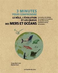 3 minutes pour comprendre le rôle, l'évolution et les enjeux des mers et océans : les marées, les icebergs, les ouragans et les typhons, les microbes marins, la pollution marine, les tsunamis...