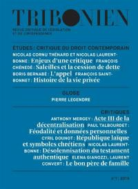 Tribonien : revue critique de législation et de jurisprudence. n° 1, Critique du droit contemporain