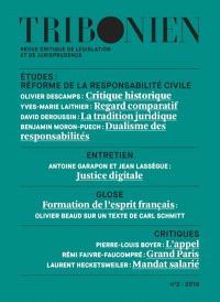 Tribonien : revue critique de législation et de jurisprudence. n° 2, Réforme de la responsabilité civile