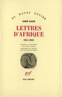 Lettres d'Afrique : 1914-1931