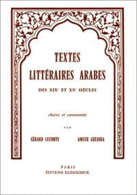 Textes littéraires arabes des 19e et 20e siècle