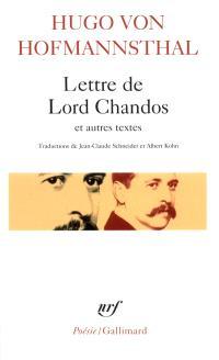 Lettre de Lord Chandos : et autres textes sur la poésie