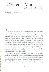 L'oeil et le mur : sur la poésie de Paul Auster