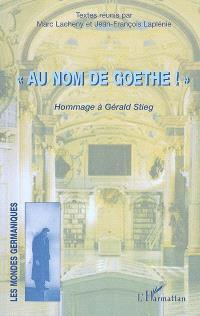 Au nom de Goethe : hommage à Gérald Stieg