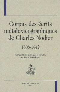 Corpus des écrits métalexicographiques de Charles Nodier, 1808-1842
